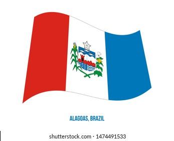 Alagoas Flag Waving Vector Illustration on White Background. States Flag of Brazil.