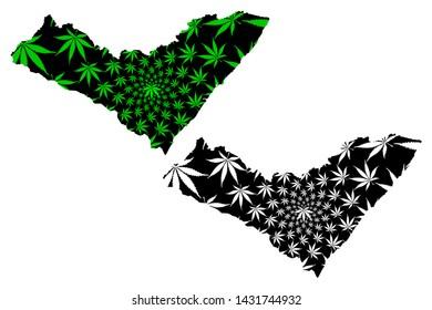 Alagoas (Region of Brazil, Federated state, Federative Republic of Brazil) map is designed cannabis leaf green and black, Alagoas map made of marijuana (marihuana,THC) foliage