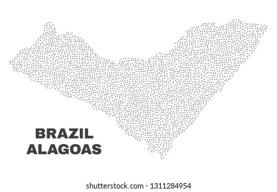 Alagoas State map designed with tiny dots. Vector abstraction in black color is isolated on a white background. Scattered small dots are organized into Alagoas State map.