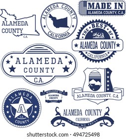 Alameda county, California. Set of generic stamps and signs.