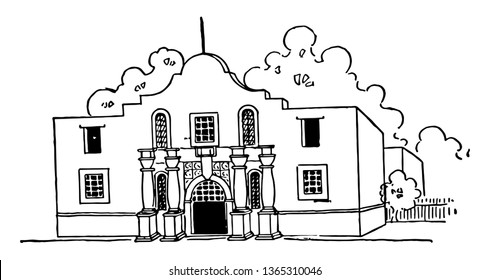 Alamo is located in the Rio Grande valley which is a city in Hidalgo county, Texas  vintage line drawing.