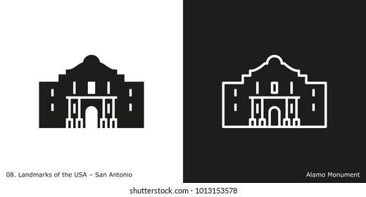 Alamo Monument Icon - San Antonio. Famous American landmark icon in line and glyph style.