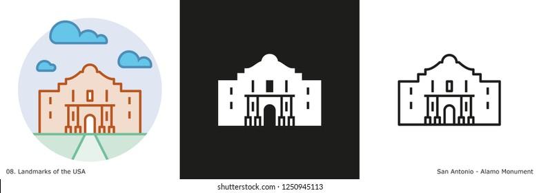 Alamo Monument Icon - San Antonio