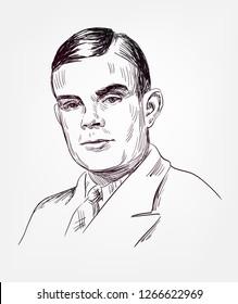 Alan Turing famous vector sketch portrait