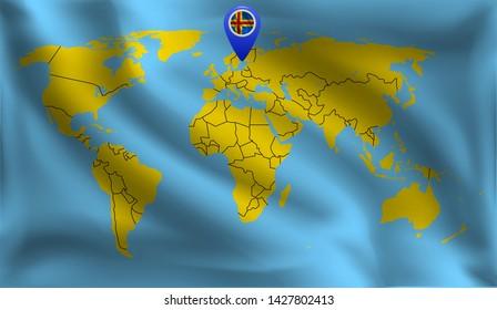 Aland islands location mark on the world map, Aland islands flag, vector illustration
