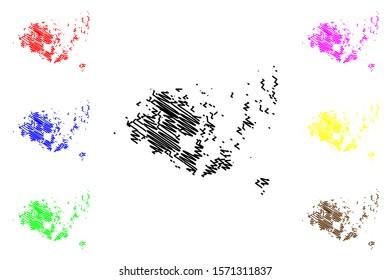 Aland Islands Region (Republic of Finland) map vector illustration, scribble sketch Aland map