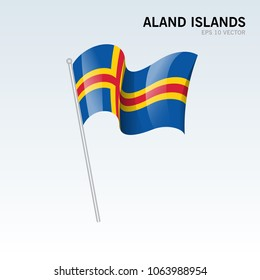 Aland Islands waving flag isolated on gray background
