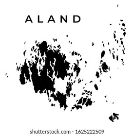 Aland Map Vector - Blank Map of Aland Islands Isolated on White