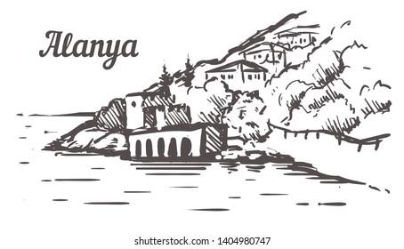 Alanya Shipyard Tersane sketch. Alanya, Turkey  hand drawn illustration isolated on white background.