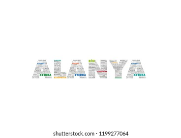 ALANYA word cloud concept made with point of interests in ALANYA