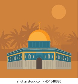 Al-Aqsa Mosque in Jerusalem, Israel. Dome of the rock. Religious architecture vector