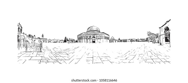 Al-Aqsa Mosque, Jerusalem's holiest mosque in Jerusalem. Hand drawn sketch illustration in vector.