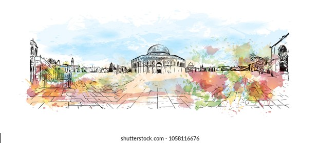 Al-Aqsa Mosque, Jerusalem's holiest mosque in Jerusalem. Watercolor splash with Hand drawn sketch illustration in vector.