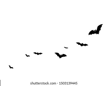 Alar black bats group isolated on white vector Halloween background. Flittermouse night creatures illustration. Silhouettes of flying bats traditional Halloween symbols on white.