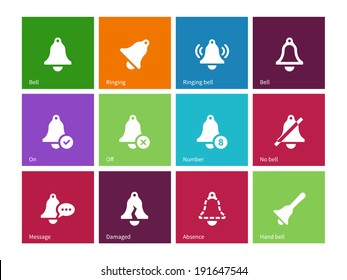 Alarm bell icons on color background. Vector illustration.