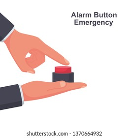 Alarm button emergency. Button to call the doctor. Vector illustration flat design. Isolated on white background. Pressing finger. Hand push.