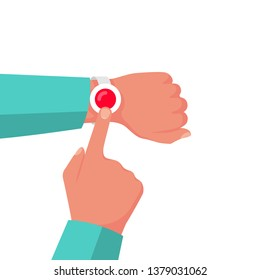 Alarm button emergency. Button to call the doctor. Vector illustration flat design. Isolated on white background. Pressing finger. Hand push. Patient presses the call. Bracelet on the arm of sick.