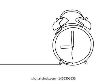 Alarm clock at 9 morning or night continuous one line drawing minimalist design on white background