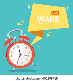 Alarm Clock with Abstract Geometric Bubble Speech Card for Web. Vector illustration