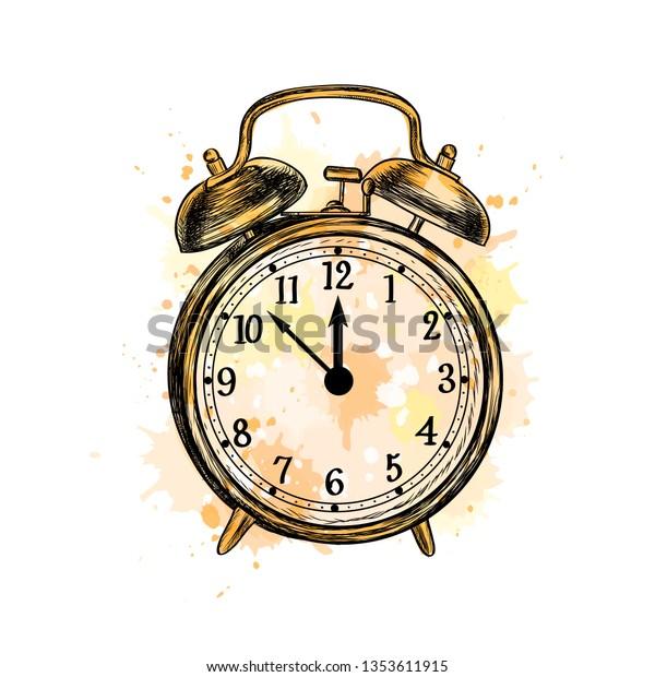 Alarm Clock Analog Classic Vintage Style Stock Vector