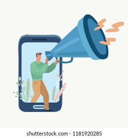 Alarm clock app on smartphone. Wake-up call application or reminder in telephone. Man screaming in megaphone. Vector cartoon illustration in modern concept