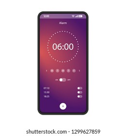 Alarm clock app smartphone interface vector template. Mobile get up application page black design layout. Gradient flat UI for application. On, off options screen. Wake up time settings phone display