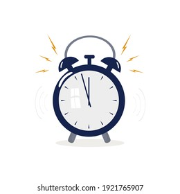 Alarm clock, bell. Mechanical signaling device. Loud signal. Concept of getting up in the morning or waking up . Vector illustration.