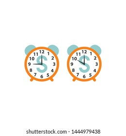 Alarm clock with bell set, retro design, with dollar face. Dial clock colorful cartoon, time is money concept icon in orange and blue.