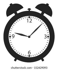 alarm clock black and white icon