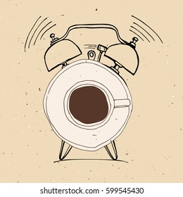 Alarm clock and coffee doodle concept illustration