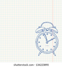 Alarm Clock Doodle - Classic clock as a blue sketch on bright yellow paper