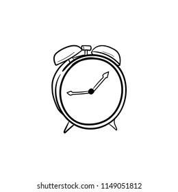 alarm clock doodle icon vector