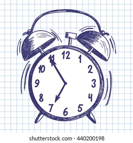 Alarm clock. Doodle sketch on checkered paper background. Vector illustration.