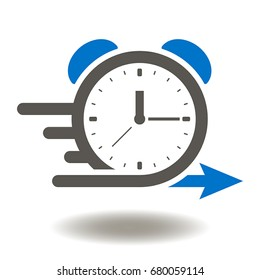 Alarm clock fast speed quick time vector icon. Agile Development Illustration.