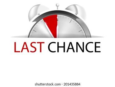 Alarm clock five to twelve with sign last chance