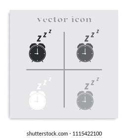 Alarm clock flat black and white vector icon.