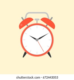 Alarm clock, flat design vector
