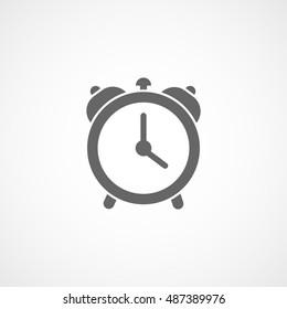 Alarm Clock Flat Icon On White Background