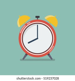 Alarm clock in flat style. vector illustration