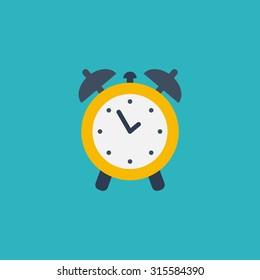 Alarm clock. Flat vector illustration