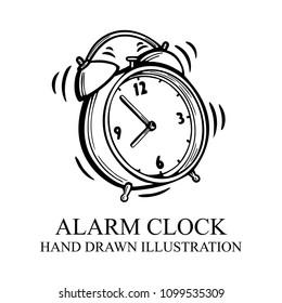 Alarm clock. Hand drawn alarm clock illustration. Alarm clock sketch isolated on white background. Alarm clock vector old fashioned illustration.