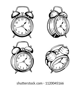 Alarm clock. Alarm clock hand drawn illustrations set. Alarm clock vector sketch in different views. Drawing clock icon isolated on white background.
