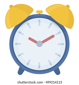 Alarm clock icon in cartoon style isolated on white background. Hotel symbol stock vector illustration.