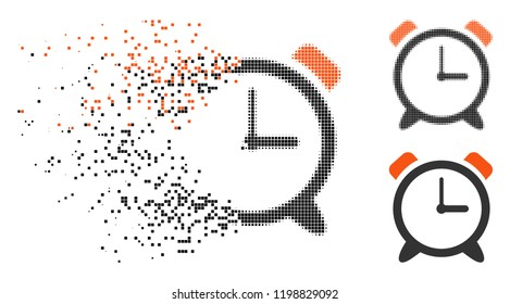 Alarm clock icon in disappearing, pixelated halftone and undamaged solid versions. Pixels are organized into vector disappearing alarm clock shape. Disappearing effect uses square dots.