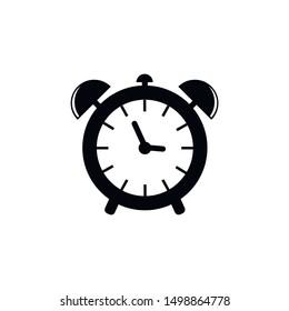 Alarm clock icon. Flat vector illustration in black on white background. EPS 10