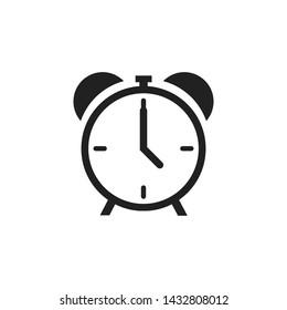 Alarm clock icon isolated on white background. Time retro symbol. Classic old alarm. Stock vector