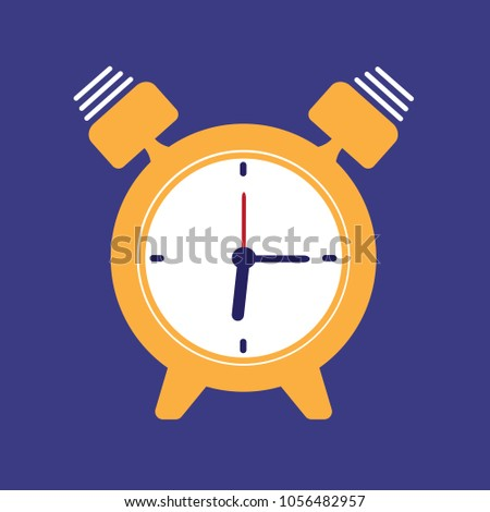 Alarm Clock Icon Isolated On Blue Stock Vector (Royalty Free