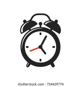 Alarm clock icon or logo. Retro style clock illustration, simple vector clip art