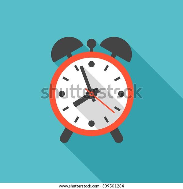 Alarm Clock Icon Long Shadow Flat Stock Vector (Royalty Free) 309501284