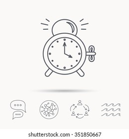 Alarm clock icon. Mechanical retro time sign. Watch with bell symbol. Global connect network, ocean wave and chat dialog icons. Teamwork symbol.